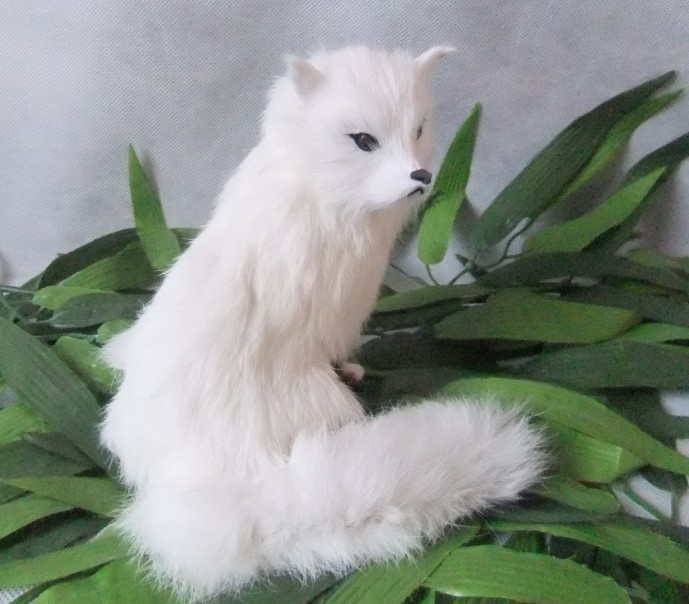 The simulation simulation white fox fur animals Handmade leather Home - Home Decor - Photo 4