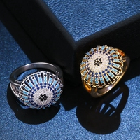 Delicate Blue Black Cubic Zircon Silver/Gold Rings for Women Boho Female Wedding Rings Hot Accessories