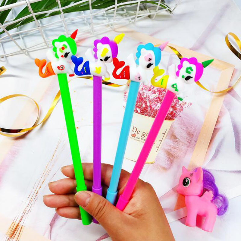 1pc Kawaii Unicorn Mermaid Gel Pen Cartoon Unicorn Student Creative Stationery Black Water Pen Office School Supplies Cute Pen in Gel Pens from Office School Supplies