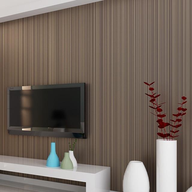 สีทึบStriped Non Woven Flockingวอลล์เปเปอร์สำหรับผนังม้วน3Dห้องนอนห้องนั่งเล่นผนังคลาสสิกกระดาษHome Decorโมเดิร์น10M