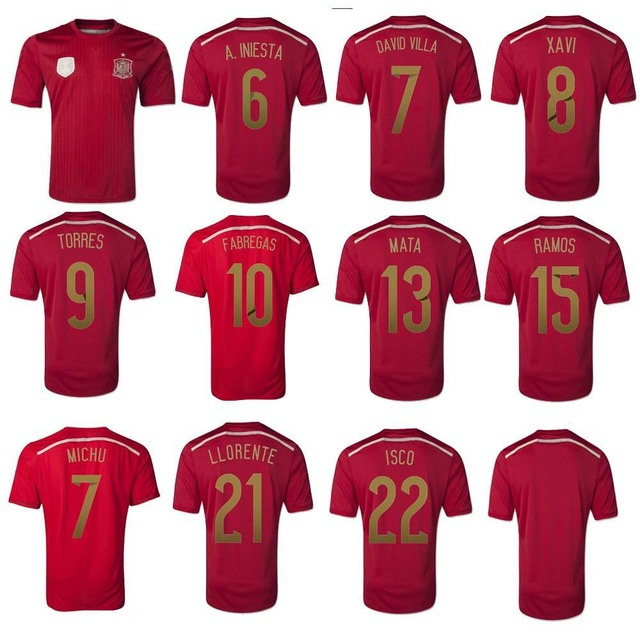 5e1833216 2014 world cup spain A Iniesta Fabregas David Villa Xavi ISCO Mata soccer  jersey Original thailand quality football jersey shirt