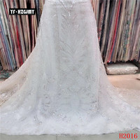 YF HZGJMY african sequin lace fabric 2019 high quality lace white lace fabric for wedding party dress,free shipping A2016 1