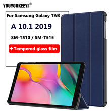 цена на Ultra Slim Flip Stand Magnetic Smart Case For Samsung Galaxy Tab A 10.1 2019 SM-T510 SM-T515 Tempered glass film for T510+Stylus