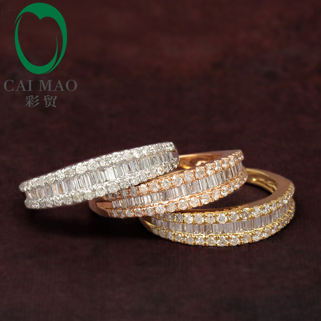 Free shipping 14K Gold Diamond Wedding Band Round Cut Diamonds Eternity Anniversary Ring Art Deco