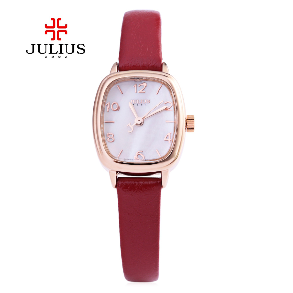Women Simple Quartz Watch JULIUS Fashion Sport Relegio Feminino Square Dial Stereo Glass Mirror Slender Leather Band Wristwatch