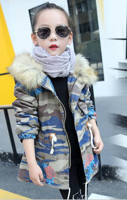 2017 winter children's clothes girls trench camouflage thicken fur collar hooded girl denim padded jackets for girls kids coats