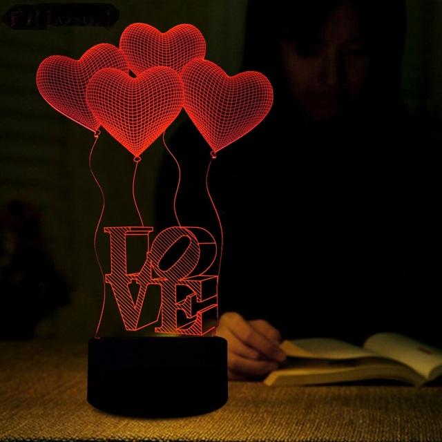 3D Illusion Night Light Heart Shaped Abajur Romantic LED Lamp Gift LED  Luminaria Bedroom Decor Linternas Great Ideas