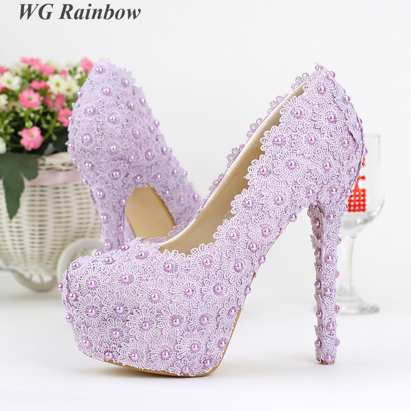 2016 Spring Romantic Purple Lace Flower Wedding Shoes for Women Plaform High Heels Bridal Pumps Pearls Beading Single Shoes