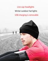 Line cap headlights USB rechargeable headlights lithium battery winter night run camping headlights warm