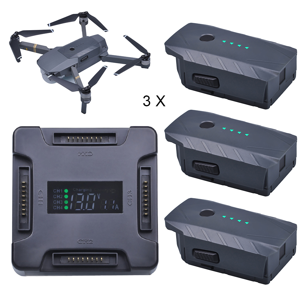 3X For DJI Mavic Pro Battery Intelligent Flight +LCD 4 in1 Battery Charging Hub for DJI Mavic Pro Quadcopter 4K HD Camera Drones квадрокоптер набор dji mavic pro 4k quadcopter бпла красный