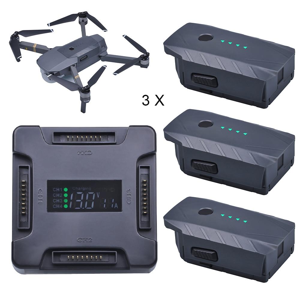 3X For DJI Mavic Pro Battery Intelligent Flight +LCD 4 in1 Battery Charging Hub for DJI Mavic Pro Quadcopter 4K HD Camera Drones