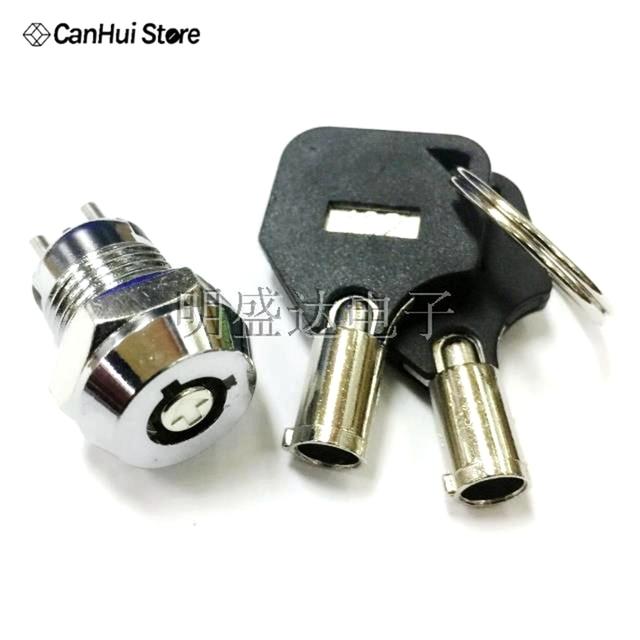 """1 יחידות 12 מ""""מ נירוסטה טלפון לנעול מנעול אלקטרוני נעילת כוח מתג מפתח משיכה החוצה סוג צד כפול S1201 0.5A250V AC 2 מפתחות"""