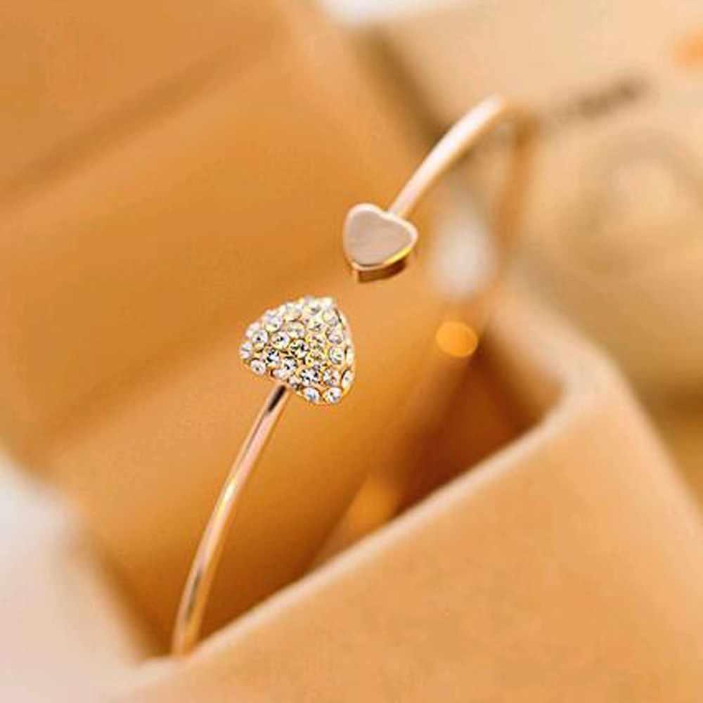 Pulsera de corazón color dorado cristal amor apertura pulsera de color dorado pulseras y brazaletes de cristal