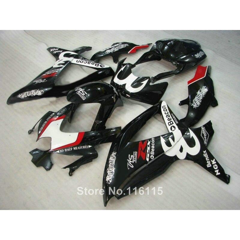 Injection fairing kit for SUZUKI K8 GSXR 600 700 2008-2010 black red Beacon motorcycle GSXR600 GSXR750 08 09 10 fairings JL78