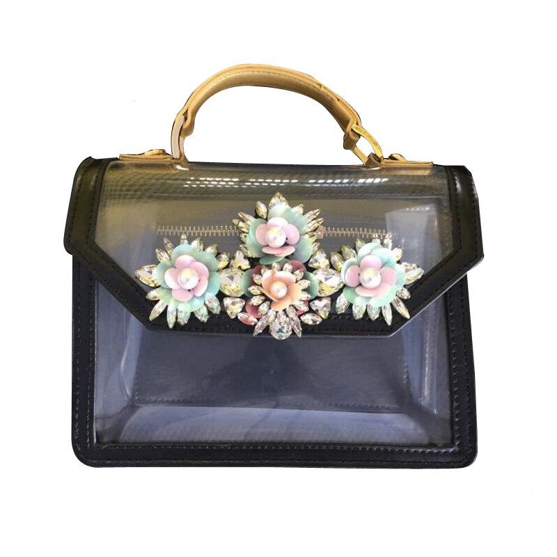 NEW Paris fashion black color diamond crystal PVC transparent personality ladies handbag DIY Collocation shoulder bag purse карабин black diamond black diamond rocklock twistlock