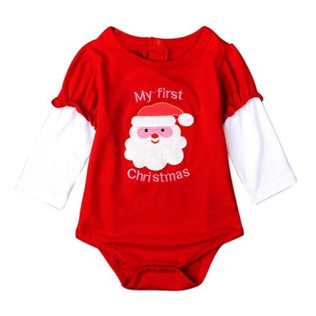 df2ba0883880 Lovely Newborn Baby Boys Girls Printed Christmas Red Romper Jumpsuit ...