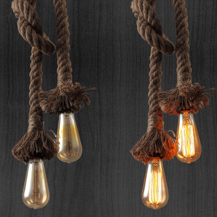Creative DIY Retro Rope Pendant Light Loft Vintage Lamp Restaurant Bedroom Diningroom Pendant Lamp Hand Knitted Hemp Rope Light