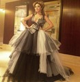 Free shipping Graduation Celebrity Dress Layered Tulle Ball gown Arabia Myriam Fares Off the shoulder Long Prom Dresses g49