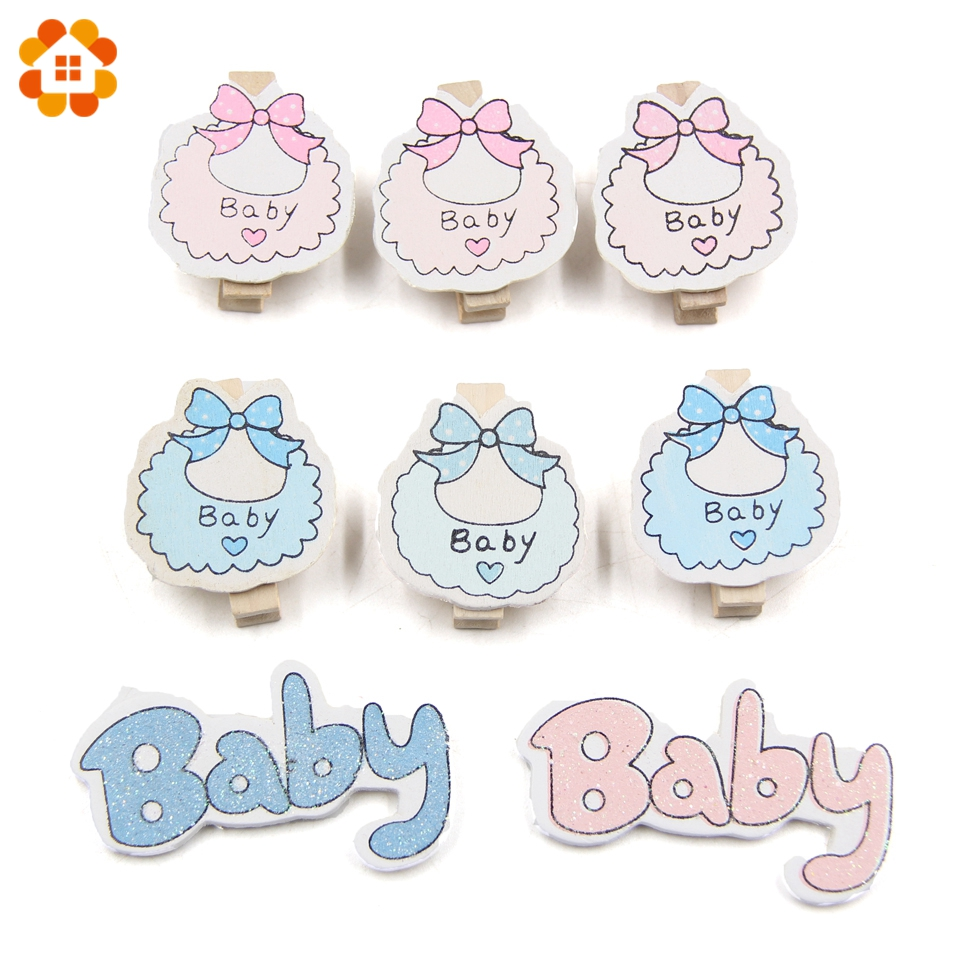 20PCS Lovely Baby Shower Clips Wooden Clips Photo Clips Wood Stickers DIY Wood Crafts Kids Gift Birthday/Baby Shower Decorations