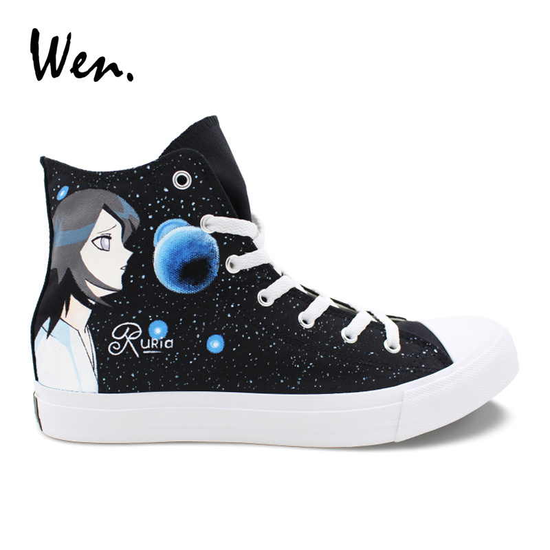 Wen Anime Design Bleach Ruria Kurosaki Ichigo Hand Painted Canvas Shoes Men Platform Sneakers Women Custom Black Vulcanize Shoes edging design bleach wash zipper fly narrow feet slimming men s jeans
