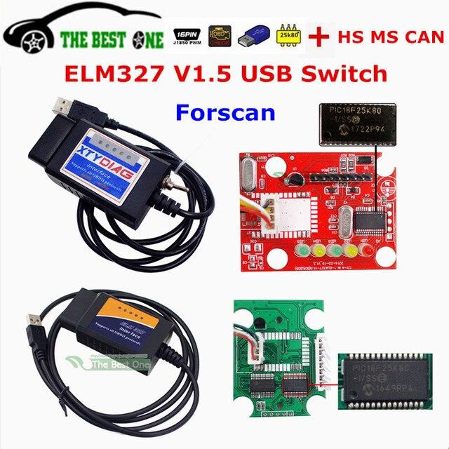 Best ELM327 V1.5 USB Switch HS MS CAN OBD2 OBDII Protocols PIC18F25K80 Chip Diagnostic Tool Code Scanner Auto Reader ELM 327 1.5