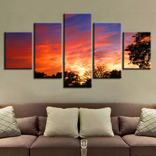 Modern HD Printing Pictures Frame Art 5 Pieces Tree Sunset Natural Scenery Modular Canvas Paintings Wall Decor Home Living Room