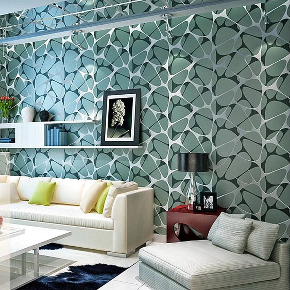 Pearlescent abstract geometry flock silver printing non for Wallpaper home decor living room