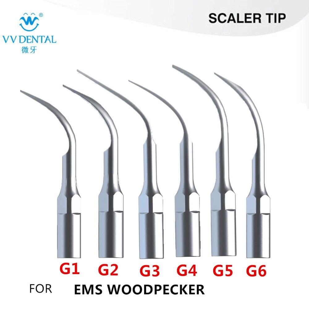 6 ks / dávka Ultrazvukové zubní měřítko Tipy nadžilové měřítko tip Fit WOODPECKER UDS, EMS Zubní bělení zubů