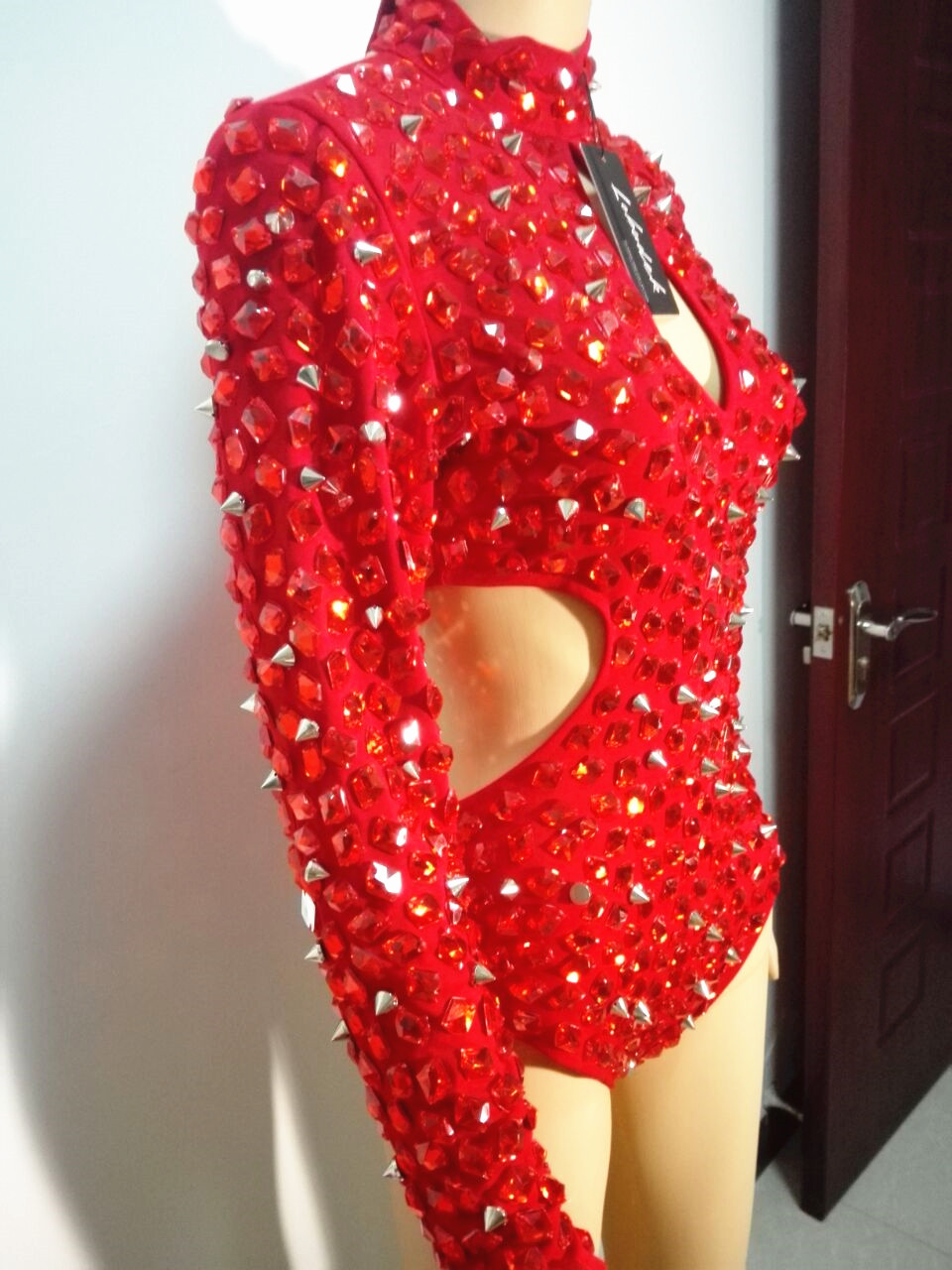 db74f9d2d8 Red Rhinestones Rivet Bodysuit Sexy Hollow out Bling Crystals Jumpsuit Bar  Nightclub Women Singer Stage Costume Jazz Dance wear-in Chinese Folk Dance  from ...