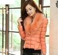 Venta caliente 2014 Nueva Moda de Invierno Cuello de Piel de marca Por la Chaqueta Mujeres Prendas de Abrigo delgado abajo de algodón acolchado chaqueta 6712