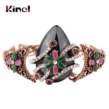 Kinel Turkish Jewelry Black Stone Bracelet For Women Antique Gold Crystal Vintage Wedding Wholesale 2019 New