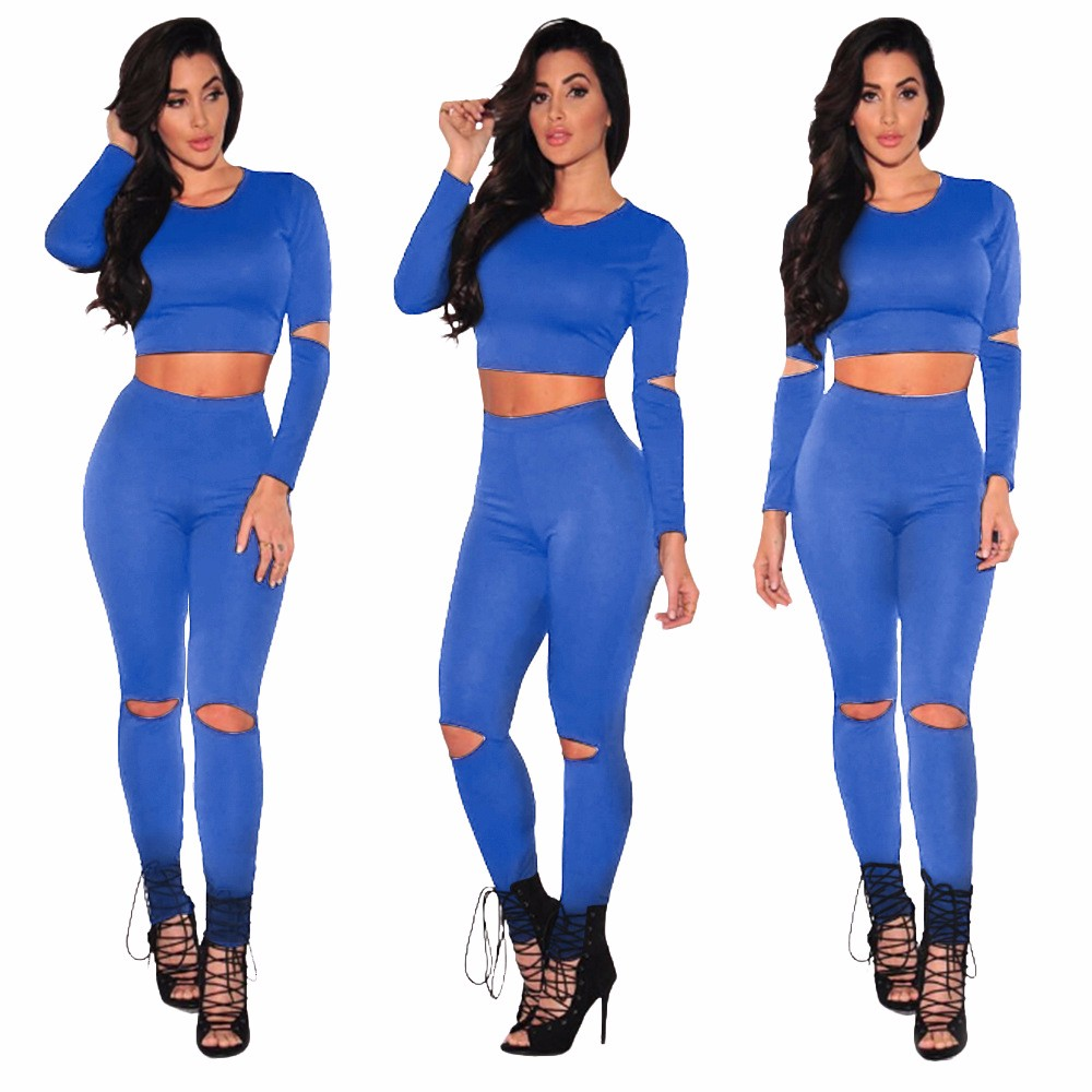 Sexy Two pieces Rompers Women Jumpsuit 2017 New Women Bodycon Jumpsuit O Neck Long Sleeve Fashion Club Bodysuit Bandage Jumpsuit 8