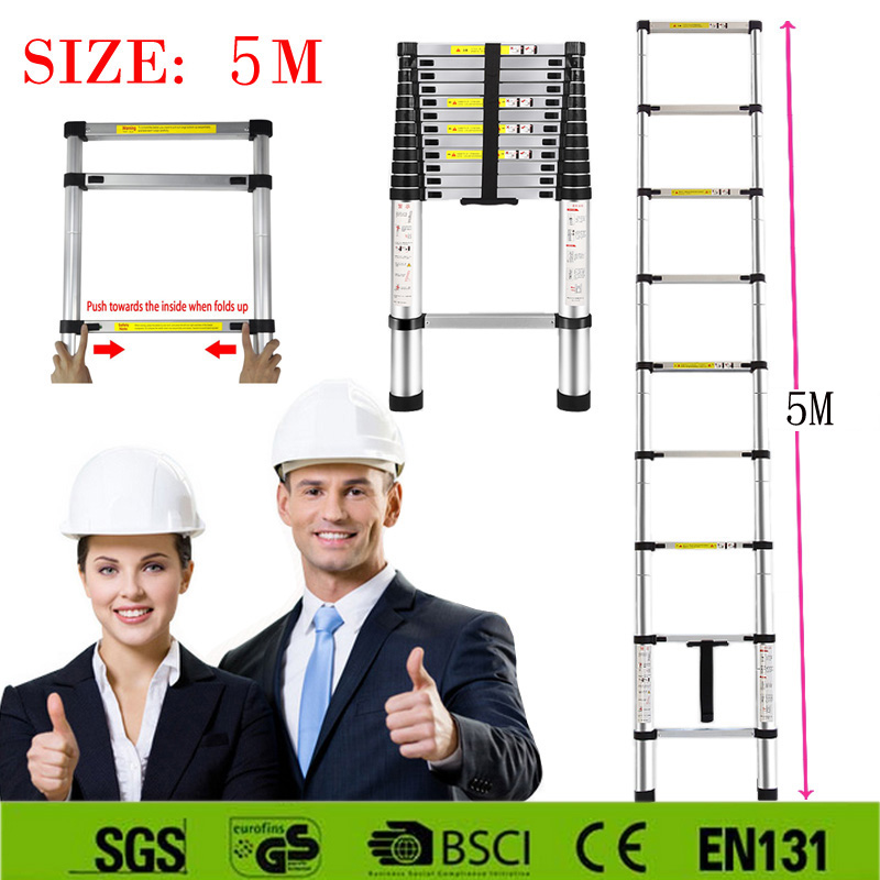 Hot sale Strong 5M aluminum telescopic ladder with the latest EN131 certificated Safe Doorways