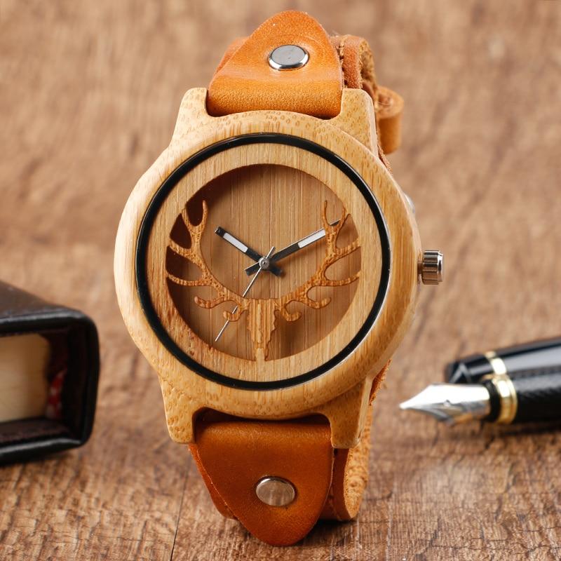 Montres en bois Design Steampunk pour hommes montre-bracelet en bambou avec visage de cerf orignal montre-bracelet en cuir véritable pour hommes montre à Quartz Reloj de madera