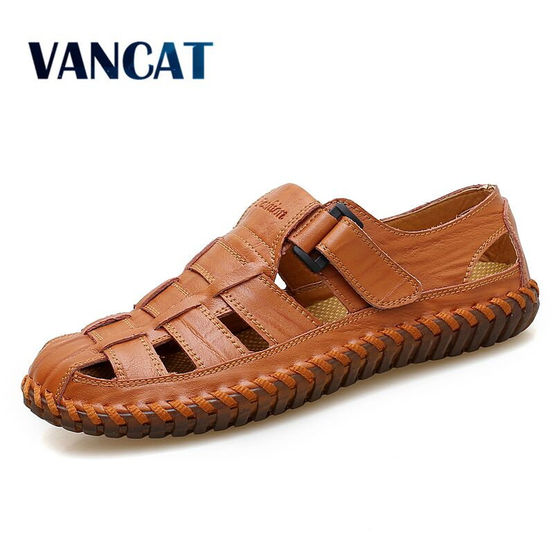 VANCAT New Summer Men Sandals 2019 Leisure Beach Men Shoes High Quality Genuine Leather Sandals The Men's Sandals Big Size 39-47