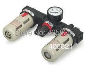 3/8'' BC3000 3 In 1 Pneumatic Air Filter Regulator Lubricator With Pressure Gauge free shipping g1 ports air filter regulator model aw5000 10 with pressure gauge 5pcs in lot high flow rate in stock