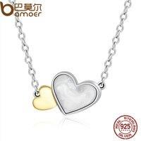 BAMOER 100% Chính Hãng 925 Sterling Bạc Sáng Hearts Tính Năng Mặt Dây Vòng Cổ cho Phụ Nữ Fine Jewelry PSN015