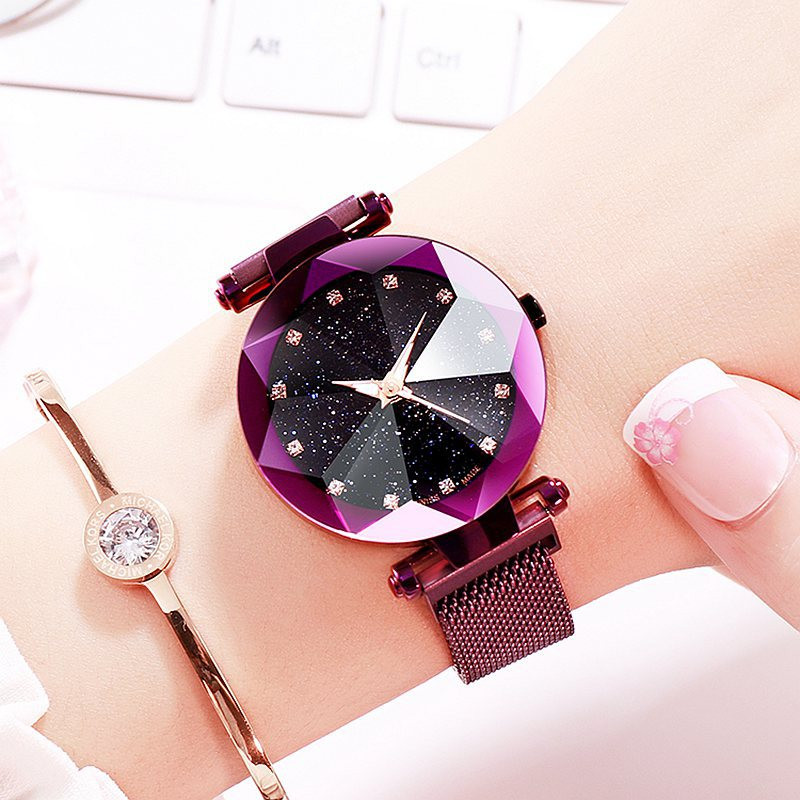 2019 New Luxury Female Watch Magnet Stainless Steel Mesh Strap Women Quartz Watches Fashion Starry Sky Dial Ladies Wristwatches