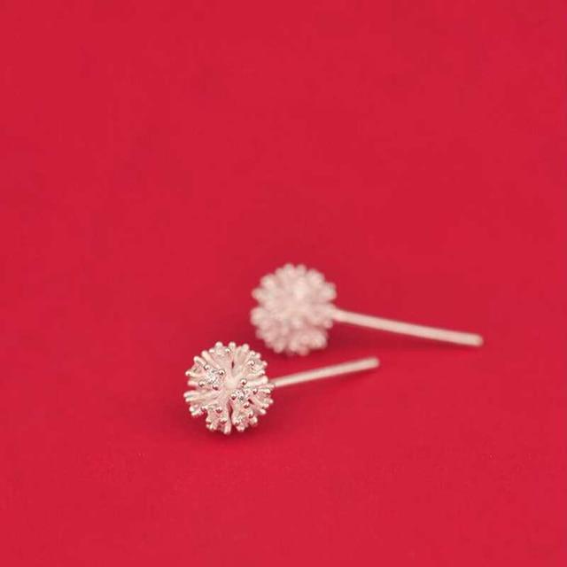 Ruifan Newest 925 Sterling Silver Women's Jewelry Fashion Tiny 7mmX7mm Dandelion Stud Earrings Gift For Girls Kid Lady YEA135