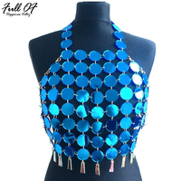 Aimeeka 2017 Crystal Crop Top Summer Beach Backless Patchwork Halter T Shirt Sexy Tops Party