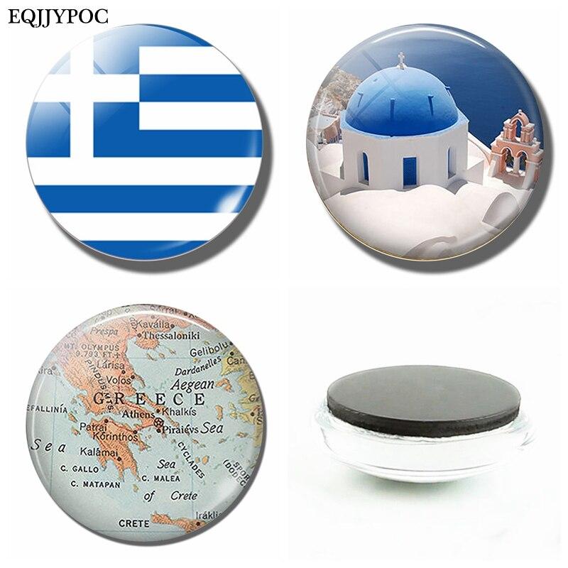 Флаг Греческой Республики 30 мм Магниты флаги на холодильник из греческого стекла купольные магнитные наклейки на холодильник держатель для записей домашний декор