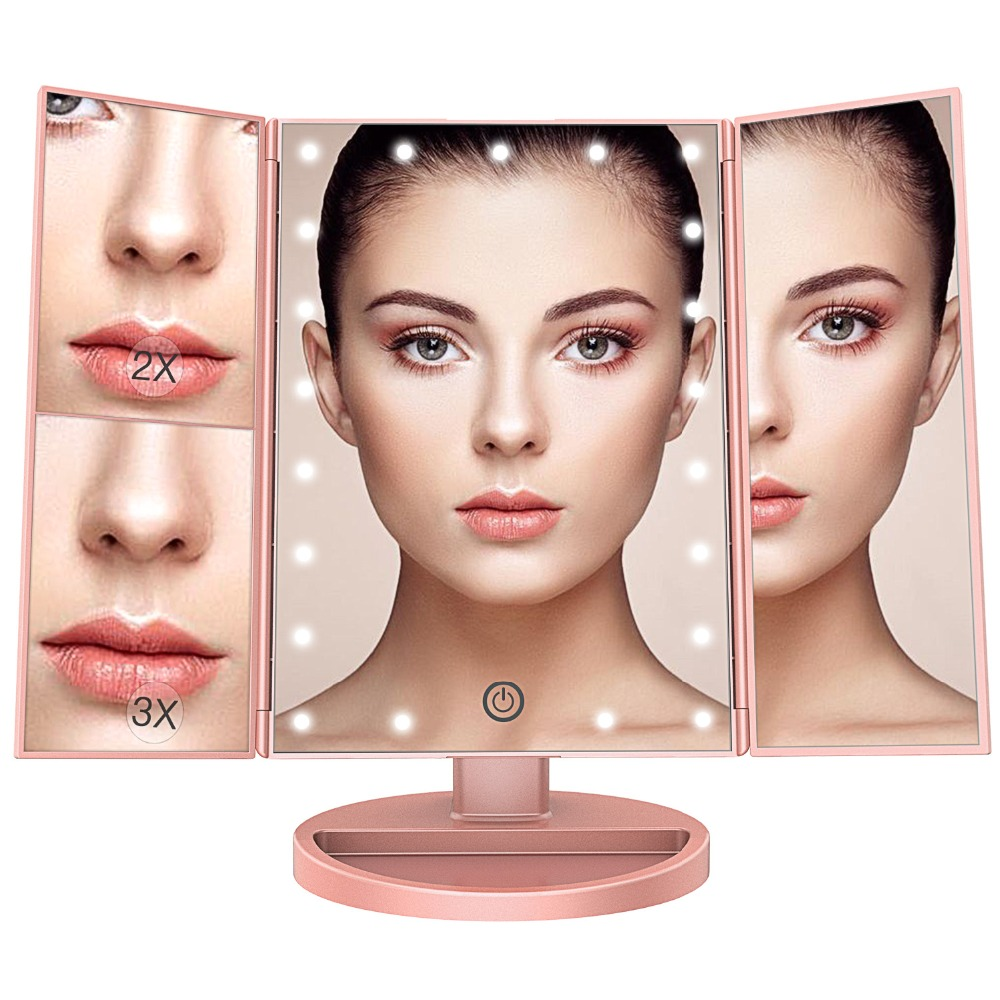 BESTOPE LED Makeup Mirror with Light Magnifying Standing Desktop Cosmetic Mirror Tri-folding Portable Adjustable Vanity Mirror
