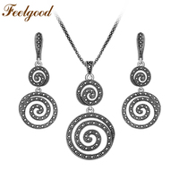 Feelgood New Design Silver Color Vintage Black Crystal Jewelry Sets Round Spiral Pendant Necklace And Earrings