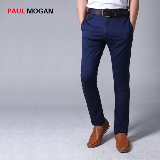 34b1a02f7 Paul Mogan 2017 pantalones casuales Delgado Azul Marino de algodón de Alta  calidad marca moda hombres