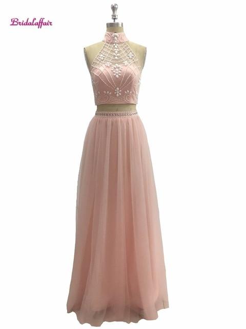 Pink 2 Piece Prom Dresses Long 2017 Vestido De Festa Beaded Girls ...