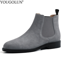 цена на Cow Suede Ankle Boots Women New Autumn Winter Low Heels Shoes A296 Fashion Ladies Gray Red Caramel Black Round Toe Short Boots