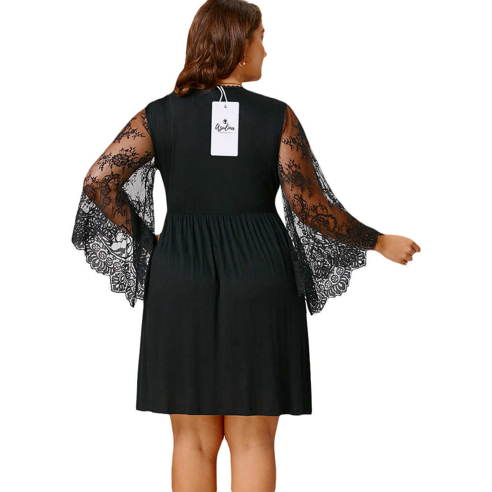 Rosegal Платье женское плюс размер 5XL сексуальное кружевное расклешенное Ампирный рукав, талия Туника Платья 2018 Осенние повседневные vestido de festa Большие размеры