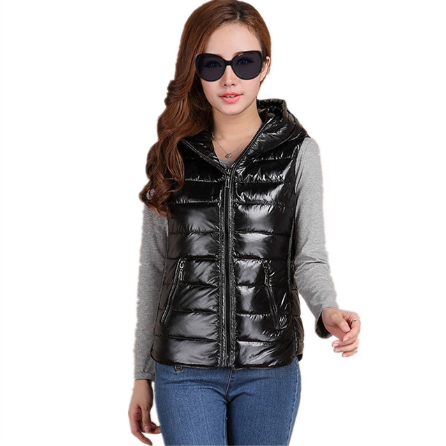 European New Fashion Women Waistcoat 2016 Fall Winter Ladies Down Cotton Padded Vest Coat Hooded Bright Slim Outerwear CT260