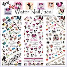 3Sheets/Lot Cute Cartoon Mouse Minnie Nail Art Tattoos Sticker Water Decal Transfer Decals