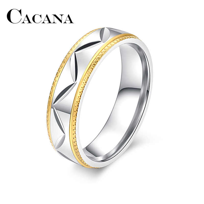 CACANA  Stainless Steel Rings For Women Men V carving Engagement Fashion Jewelry Rings For Male Party Wedding